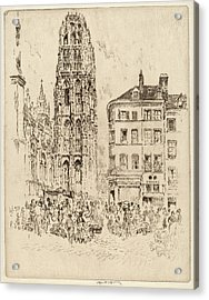 Joseph Pennell, Flower Market And Butter Tower Acrylic Print