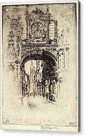 Joseph Pennell, Grosse Horloge, Rouen, American Acrylic Print