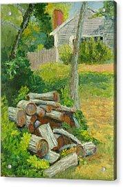 Joshua's Way Woodpile  Acrylic Print