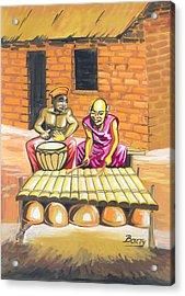 Acrylic Print featuring the painting Joueurs De Balafon Et De Tam Tam by Emmanuel Baliyanga