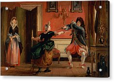 Jourdain Fences His Maid, Nicole With His Wife Looking On. Scene From Le Bourgeois Gentilhomme, Act Acrylic Print by Charles Robert Leslie