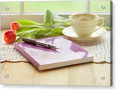 Journal And Coffee Acrylic Print by Kay Pickens
