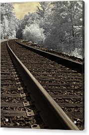 Journey On The Tracks Acrylic Print by Luke Moore