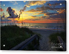 Joy Comes In The Morning Sunrise Carolina Beach Nc Acrylic Print by Wayne Moran