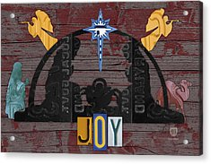 Joy Nativity Scene Recycled License Plate Art Acrylic Print
