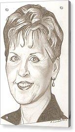 Joyce Meyer Drawing Acrylic Print by Robert Crandall