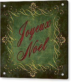 Joyeux Noel In Green And Red Acrylic Print by Caitlyn  Grasso