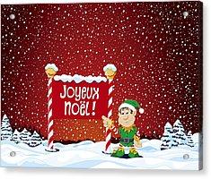 Joyeux Noel Sign Christmas Elf Winter Landscape Acrylic Print by Frank Ramspott