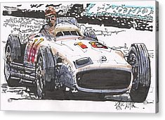 Juan Fangio Mercedes Benz German Grand Prix Acrylic Print by Paul Guyer