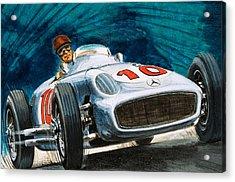 Juan Manuel Fangio Driving A Mercedes-benz Acrylic Print by English School
