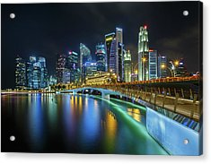 Jubilee Bridge Singapore Acrylic Print by Photography By Spintheday