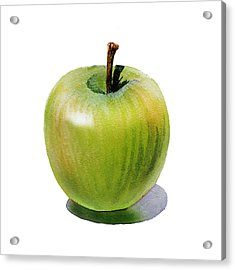 Acrylic Print featuring the painting Juicy Green Apple by Irina Sztukowski