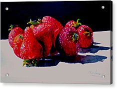 Acrylic Print featuring the painting Juicy Strawberries by Sher Nasser