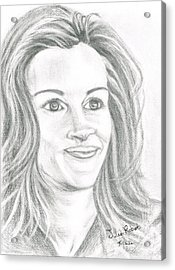 Acrylic Print featuring the drawing Julia Roberts by Teresa White