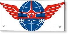 Jumbo Jet Plane Front Wings Globe Acrylic Print by Aloysius Patrimonio