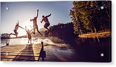 Jumping Into The Water From A Jetty Acrylic Print by Wundervisuals