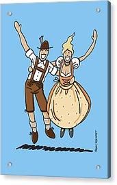 Jumping Oktoberfest Lovers Acrylic Print by Frank Ramspott