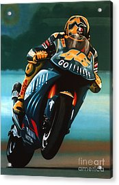 Jumping Valentino Rossi  Acrylic Print by Paul Meijering