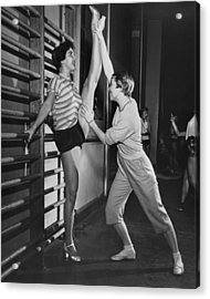 June Taylor Stretches Dancer Acrylic Print by Underwood Archives