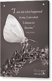 Jung Quotation And Butterfly Acrylic Print by Chris Scroggins