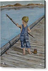 Juniors Amazing Fishing Pole Acrylic Print by Kelly Mills