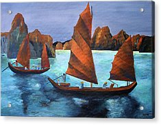Acrylic Print featuring the painting Junks In The Descending Dragon Bay by Tracey Harrington-Simpson