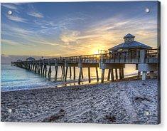Juno Beach Pier At Dawn Acrylic Print by Debra and Dave Vanderlaan