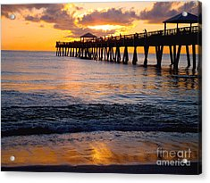 Juno Beach Pier Acrylic Print by Carey Chen