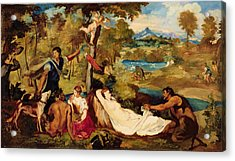 Jupiter And Antiope Acrylic Print by Edouard Manet