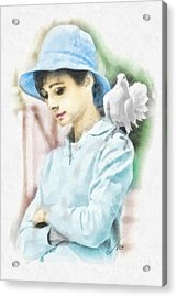 Just Audrey Acrylic Print by Mo T