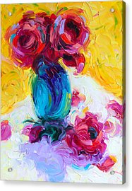 Just Past Bloom - Roses Still Life Acrylic Print