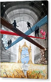 Acrylic Print featuring the painting Just Paths  by Lazaro Hurtado