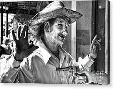 Just Shoot Me Said The Cowboy- Black And White Acrylic Print by Kathleen K Parker