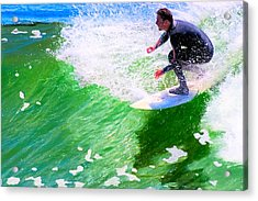 Just Surf - Santa Cruz California Surfing Acrylic Print