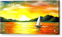 Justa Sailing Acrylic Print by Janet Moss