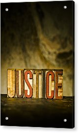 Justice Antique Letterpress Printing Blocks Acrylic Print by Donald  Erickson