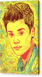 Justin Bieber In Line Acrylic Print by Kenal Louis