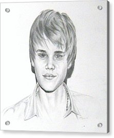 Acrylic Print featuring the drawing Justin Bieber by Lori Ippolito
