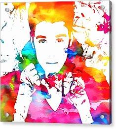 Justin Bieber Watercolor Paint Splatter Acrylic Print