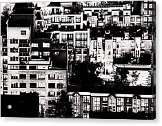 Acrylic Print featuring the photograph Black And White - Juxtaposed And Intimate Vancouver View At Night - Fineart Cards by Amyn Nasser