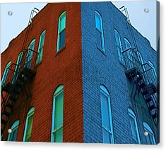 Juxtaposition - Old Building Acrylic Print by Denise Beverly