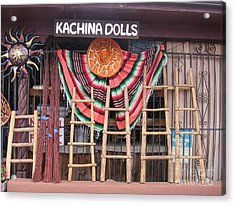 Acrylic Print featuring the photograph Kachina Dolls Local Store Front by Dora Sofia Caputo Photographic Art and Design
