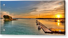 Kadena Marina Sunset Acrylic Print by Chris Rose