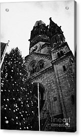 Kaiser Wilhelm Gedachtniskirche Memorial Church And Christmas Tree Berlin Germany Acrylic Print by Joe Fox