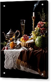 Acrylic Print featuring the photograph Kalf - Banquet With Fruits by Levin Rodriguez