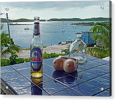 Kalik Beer Bottle At The Front Porch Acrylic Print