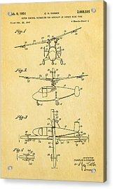 Kaman Rotor Control Patent Art 1954 Acrylic Print by Ian Monk