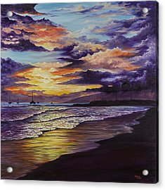 Acrylic Print featuring the painting Kamehameha Iki Park Sunset by Darice Machel McGuire