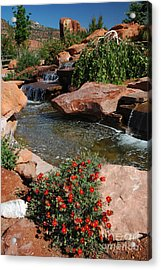 217p Kanab Ut Water Feature Acrylic Print