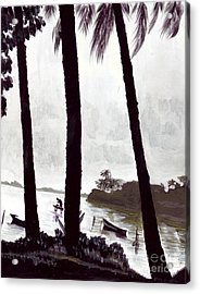 Kaneohe Bay From Bus Stop Acrylic Print by Mukta Gupta